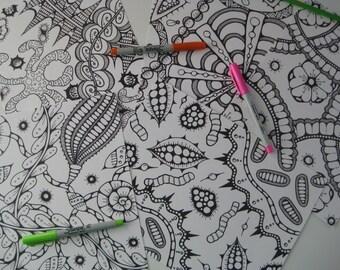 Instant Download Doodle Coloring Pages - 5 Printable Designs  - Set 14