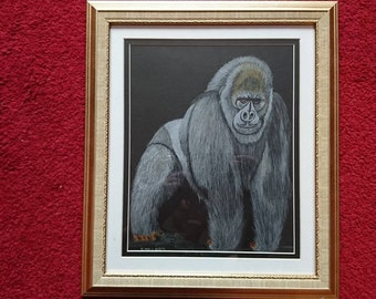 Gorilla pencil drawing, complete with frame, hand drawn drawing