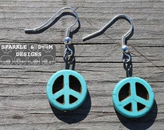 Turquoise Peace Sign Earrings, pair carved howlite gemstone handmade