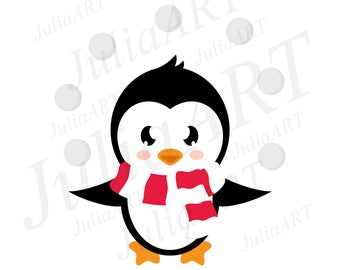 cartoon cute penguin with snowball and scarf vector image