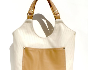 Beige and Tan Leather Purse