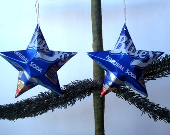 Recycled Blue Sky Dr. Becker Soda Can Aluminum Stars - 2 Christmas Ornaments or Gift Toppers