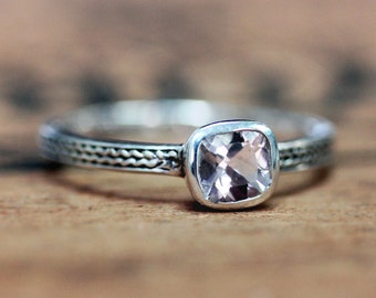 Pink morganite ring, morganite engagement ring, braided engagement ring, silver engagement ring cushion cut ring oxidized silver ring custom