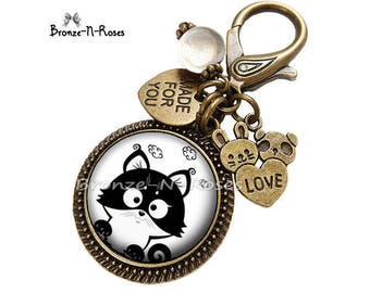 "Bag charm ""little black and white cat funny"" fantasy glass cabochon bronze jewelry"