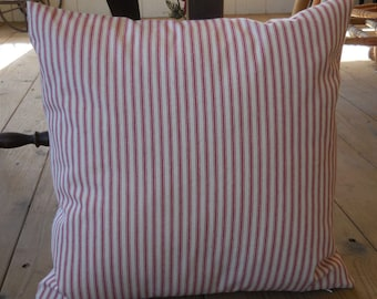 French Red Ticking Pillow, Farmhouse Pillows, Shabby Chic 23,Fixer Upper Style,  INSERT INCLUDED