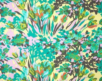 Cotton Amy Butler Sateen Cotton Meadow Blooms in Grass from the Violette Collection 1/2 Yard