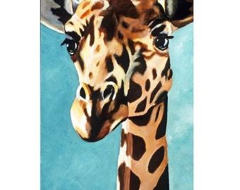 Children's Room Wall Art Print. Gentle Giant Giraffe 11 x 14, Toddler Kids Room, Safari Zoo Animal Artwork. Boy Girl Nursery. Green Painting