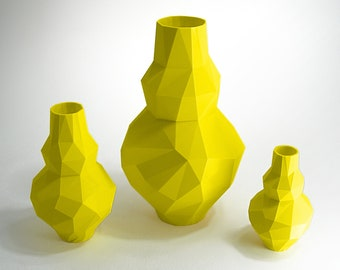 lemon yellow vase 3d printed vase yellow decor yellow kitchen decoration vase plastic lemon yellow pottery
