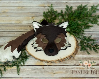Timber the brown Wolf Mask and Tail Pretend Play Costume Woodland