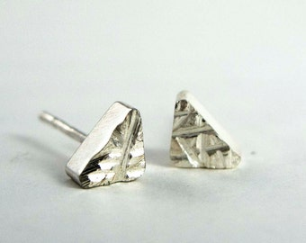 Rough Cut Geometry Triangle Studs in Sterling Silver - Ready to Ship