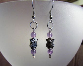 Owl Earrings With Purple Accents