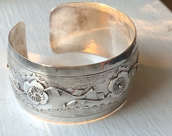 Delicate Wide Sterling Silver Cuff from Trinidad