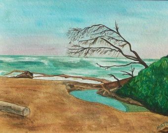 "Watercolor, Original - ""Jack's Beach""  - on watercolor paper - 11 x 15"