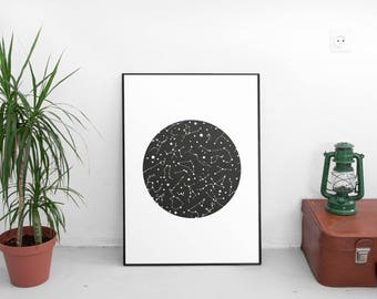 Constellation print, Nursery art, Constellation poster, Geometric art, Kids room art, Print art, Ursa, Wall art, Kids illustration, Kids art