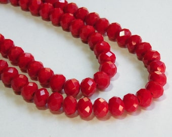 Crimson Red faceted rondelles 10x8mm full strand siam red crystal 007-211