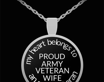 Proud Army Veteran's Wife Round Pendant Necklace My Heart Belongs to an Army Veteran Gift