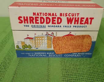 Vintage National Biscuit Shredded Wheat Nabisco Recipe Tin 1973