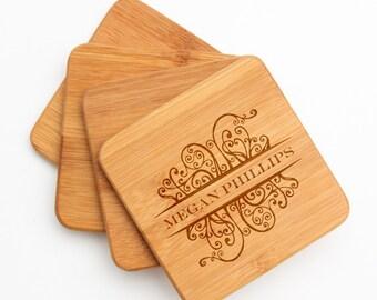 Personalized Bamboo Coasters, Custom Engraved Bamboo Coaster, Name Design, Personalized Coaster, Personalized Wedding Gift, Housewarming D4