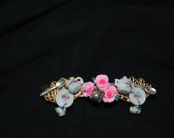 Hair clip tea cups pink roses filigree pieces sugar creamer one of a kind