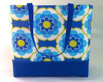 Extra Large Beach Bag, Large Tote Bag, Weekend, Diaper Bag, School Bag, Bridesmaid Bag, Boat Tote in Large Blue Floral by Hot Pink Frosting