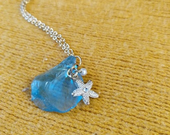Blue Sea Glass and Starfish Necklace