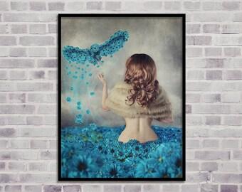 Owl digital print, instant download print, woman digital print, flowers print, modern wall art, woman modern art, fine art print