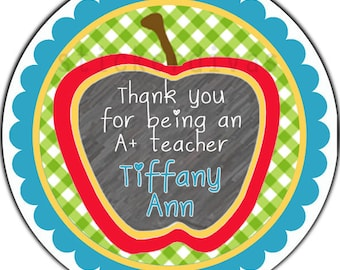 Personalized Teacher Thank You Stickers with Apple Chalkboard