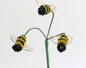 Transparent Bumblebee Trio Plant Stick For Your Beaded or Artificial Flower Arrangement