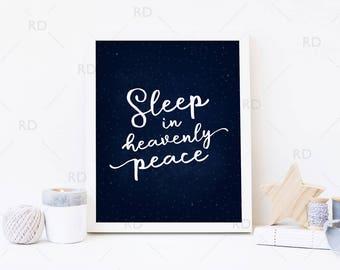 Sleep in Heavenly peace PRINTABLE - holiday art / Christmas art / Xmas / Silent Night Christmas Lyrics Printable Art / Christmas Printable