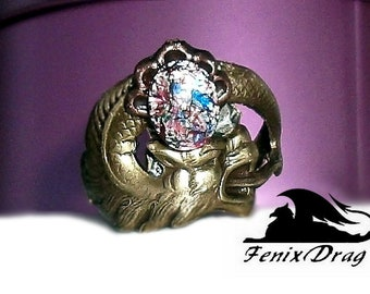 "Ring the ""Fairy wolf"" brown glass Vintage, Goth, Gothic, Steampunk, Edwardian, Victorian, Fantasy jewelry jewellery style"