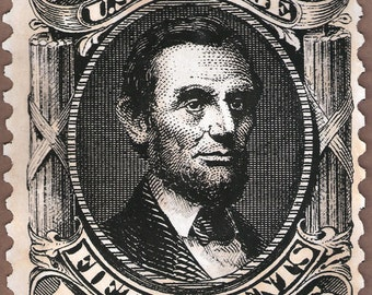 Abraham Lincoln portrait , US Postage Stamp. artwork, limited edition, etching
