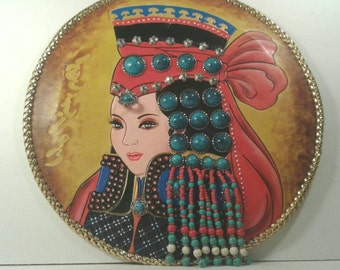 Mongolian Leather Painting Beaded Beauty Large Hand Crafted Painted Tooled Metal Work Native Folk Art Colorful Mixed Media Craft Unique