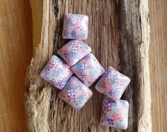 Polymer Clay Pillow Beads Japanese Garden Set of Eight (only 7 in photo)