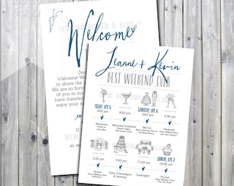 Printable Handwriting Wedding Weekend Itinerary with Welcome Letter