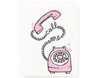 Call Me / Retro Card / Rotary Phone / Vintage Card / Cute Card / Pink Card / Pink Rotary Phone / Illustration Print / Hand Lettered Cards