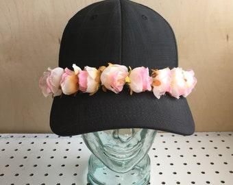 Unique Flower Crown Black Cap