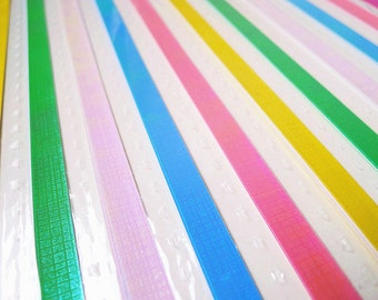 Origami Lucky Star Paper Strips Pearlescent Checks Embossed DIY - Pack of 50 Strips