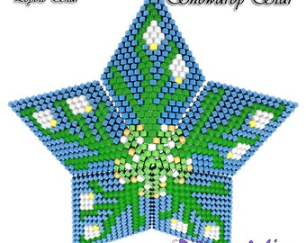 Beading Pattern/Tutorial SNOWDROPS 3D PEYOTE STAR + Basic Instructions