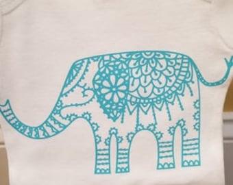 Elephant baby girl onesie, baby girl vinyl onesie, elephant onesie, teal onesie
