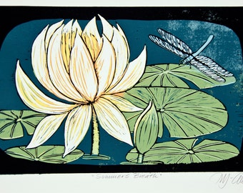 linocut, water lily, printmaking, blue, green, yellow, nature, water, pond, country cottage, home decor, flowers