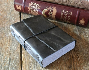 """Leather Journal . """"Words are things, and a small drop of ink..."""" Lord Byron . dark distressed moss. handmade handbound (320 pgs)"""