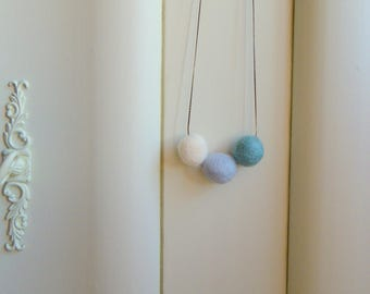Blue Felt Necklace Blue Textile Necklace Textile Jewelry Felt Jewelry