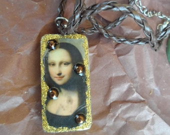Mona Lisa necklace and leather cord