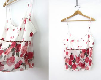 Sheer Floral Tank 90s Crop Top Sleeveless Blouse Flower Pattern Boho Beach Tank Top Vintage Cropped Camisole Tee Womens size large