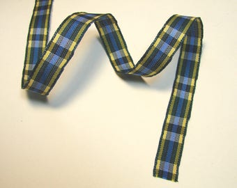 Plaid Ribbon, 10 mm, blue, yellow, green, green, sold by the yard border.