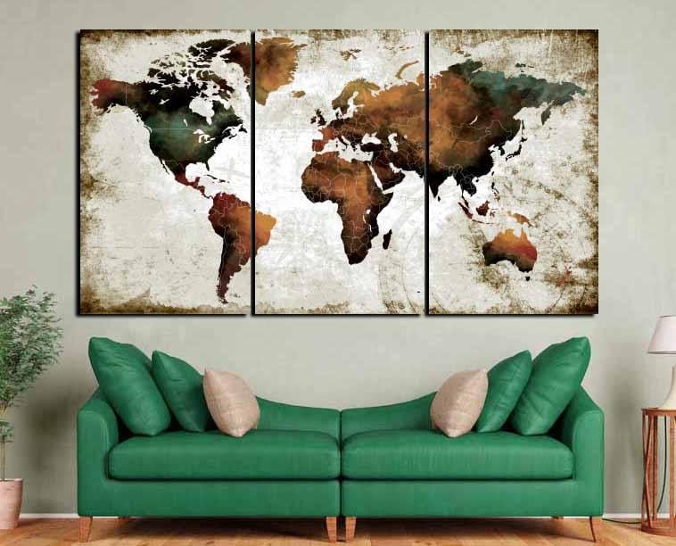 Watercolor world map artworld map wall artworld map art print watercolor world map artworld map wall artworld map art printworld map brownworld map abstract artworld map largeworld map artwork gumiabroncs Gallery
