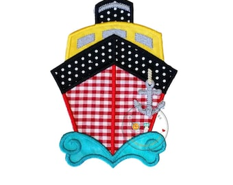 Red gingham cruise ship iron on applique