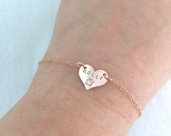 Personalised Pet Bracelet, Pet Loss, Dog Paw Jewelry, Cat Lover Bracelet, Dog Mom Gift, Crazy Cat Lady, Pet Memorial Gift, Pet Name
