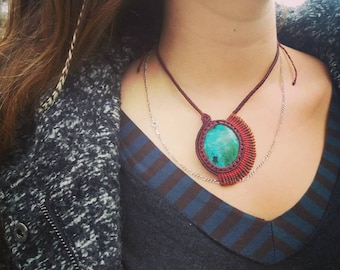 Macrame and Chrysocolla Necklace