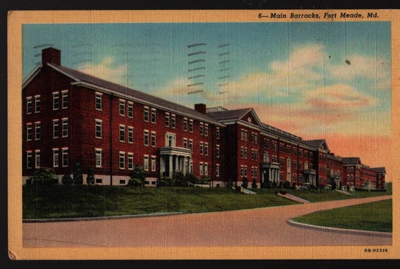 Main Barracks + Fort Meade, Maryland + 1951 + Vintage Curteich Postcard
